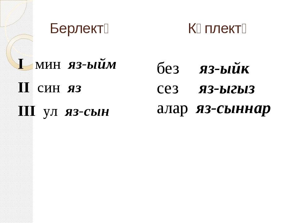 Берлектә Күплектә I мин яз-ыйм II син яз III ул яз-сын без яз-ыйк сез яз-ыгыз...