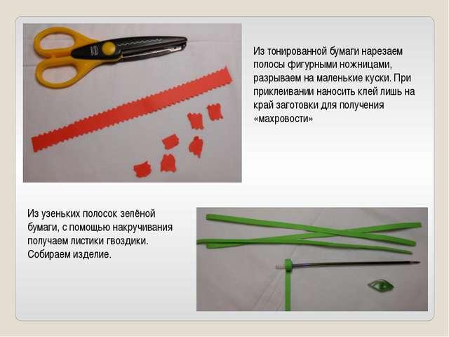 Из тонированной бумаги нарезаем полосы фигурными ножницами, разрываем на мале...