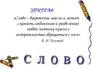 ЭПИГРАФ «Слово – выражение мысли и может служить соединению и разделению люде