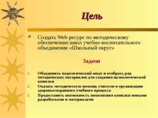 Цель Создать Web-ресурс по методическому обеспечению школ учебно-воспитательн