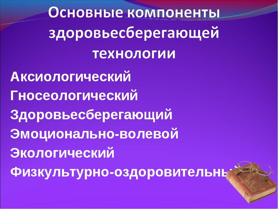 Аксиологический Гносеологический Здоровьесберегающий Эмоционально-волевой Эко...
