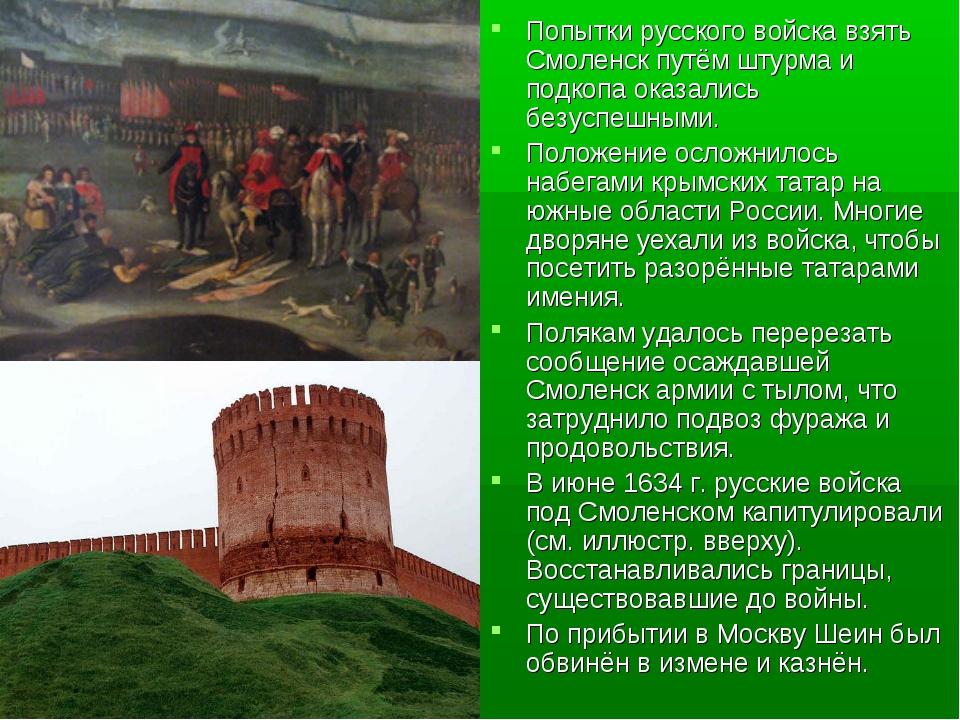 Попытки русского войска взять Смоленск путём штурма и подкопа оказались безус...
