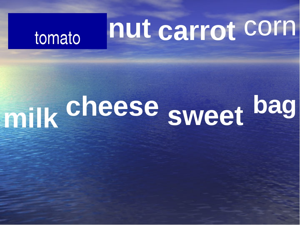 tomato nut carrot corn milk cheese sweet bag