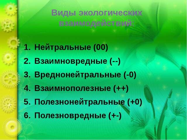 Виды экологических взаимодействий: Нейтральные (00) Взаимновредные (--) Вредн...