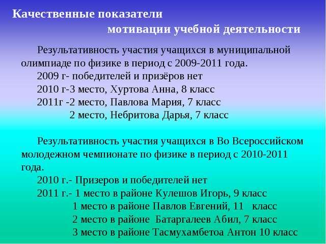 Результативность участия учащихся в муниципальной олимпиаде по физике в пери...