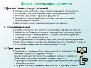 Этапы реализации проекта I. Диагностично – концептуальный 1. Определение проб