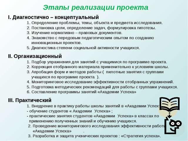 Этапы реализации проекта I. Диагностично – концептуальный 1. Определение проб...