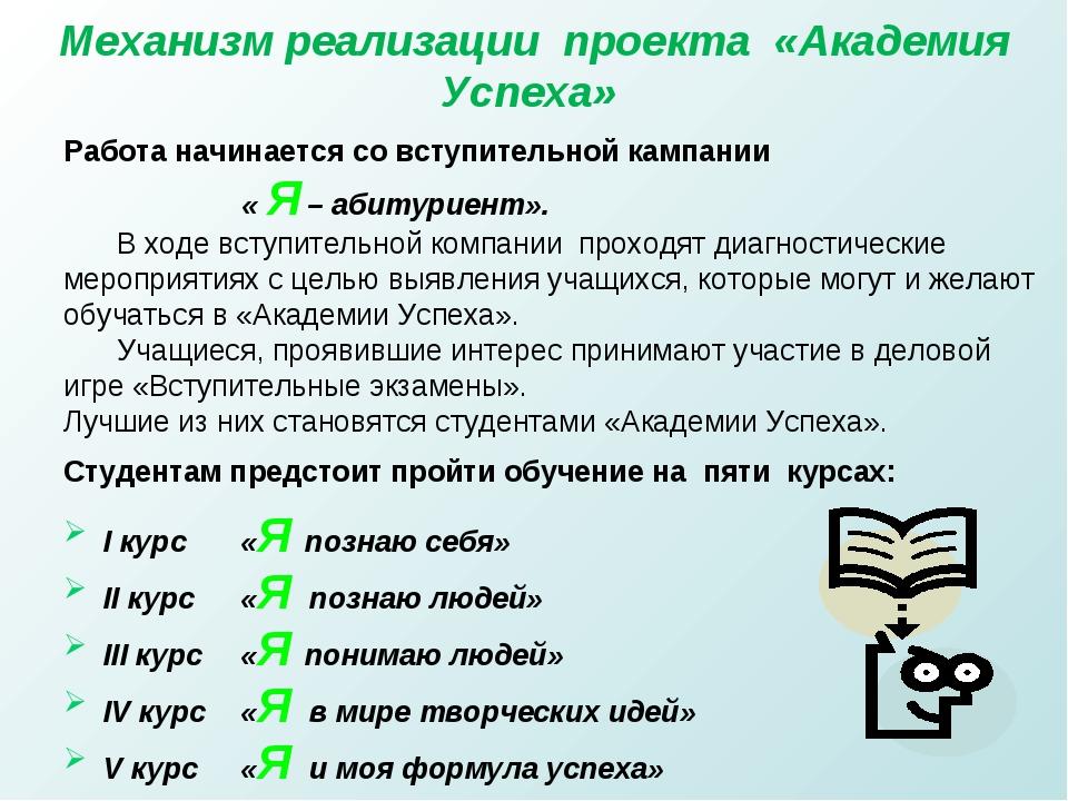 Механизм реализации проекта «Академия Успеха» Работа начинается со вступитель...