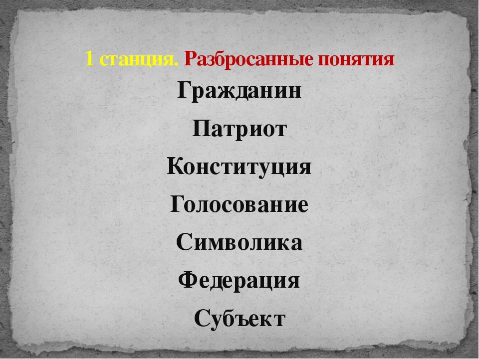 Гражданин Патриот Конституция Голосование Символика Федерация Субъект 1 станц...