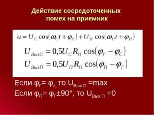 Действие сосредоточенных помех на приемник Если φГ= φс, то UВых С =max Если φ