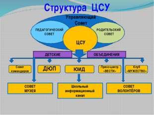 Структура ЦСУ Клуб «МУЖЕСТВО» Школьный информационный канал ДЮП Пресс-центр
