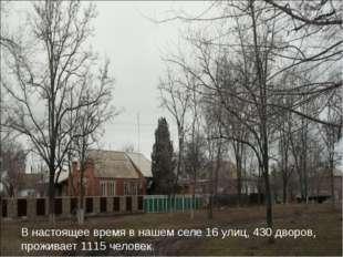 В настоящее время в нашем селе 16 улиц, 430 дворов, проживает 1115 человек.