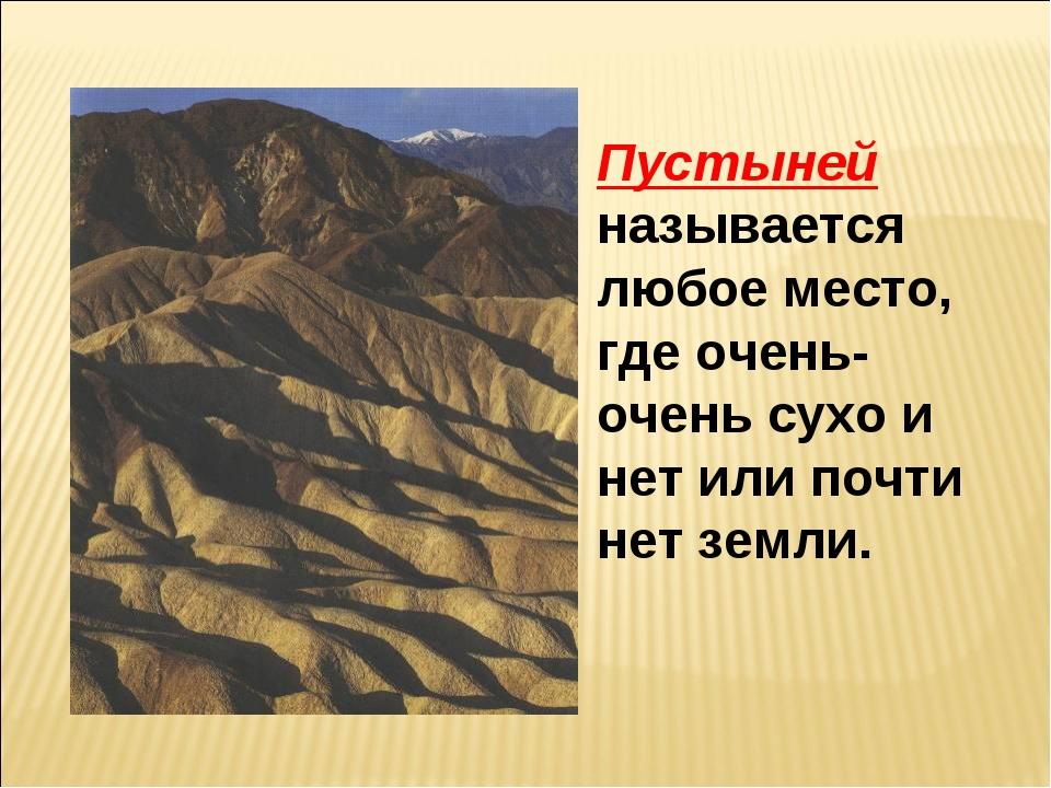 Пустыней называется любое место, где очень-очень сухо и нет или почти нет зем...