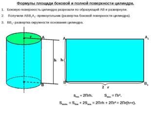 О О1 2Πr Формулы площади боковой и полной поверхности цилиндра. Боковую повер