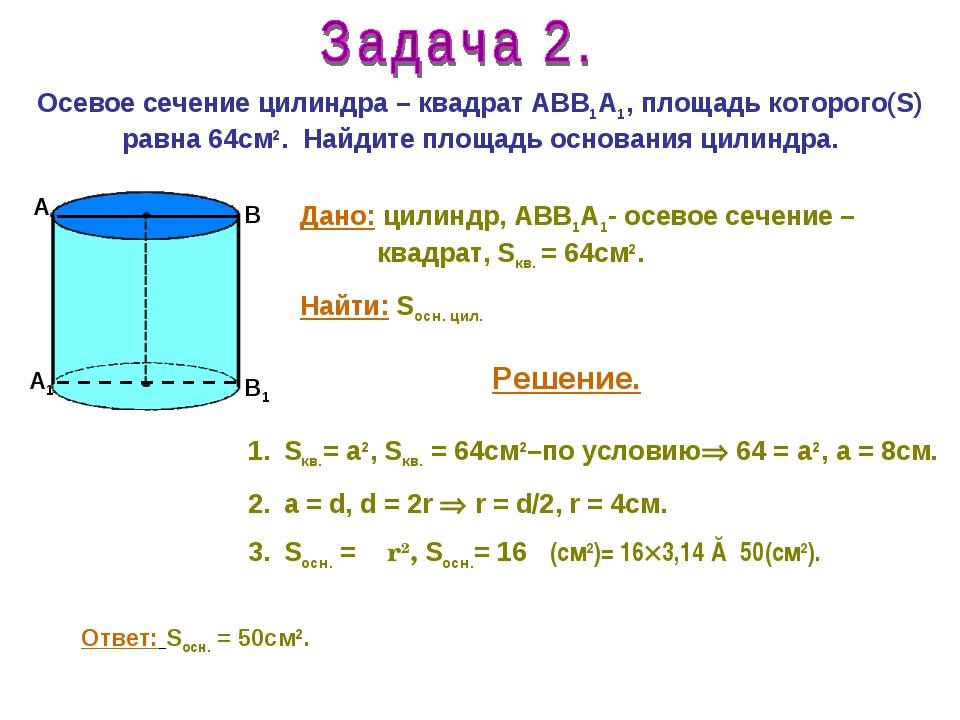 Осевое сечение цилиндра – квадрат АВВ1А1, площадь которого(S) равна 64см2. На...