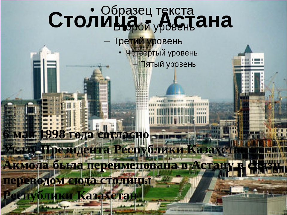 Столица - Астана 6 мая 1998 года согласно Указу Президента Республики Казахст...