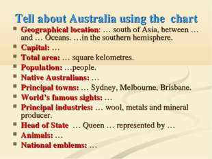 Tell about Australia using the chart Geographical location: … south of Asia,