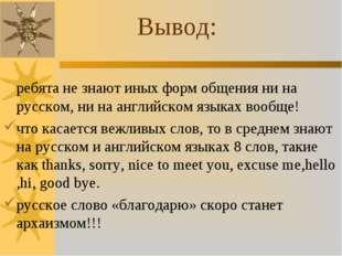 ребята не знают иных форм общения ни на русском, ни на английском языках воо