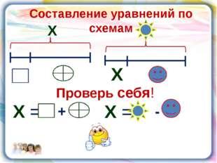 Составление уравнений по схемам Х Х = + Х = - Х Проверь себя!