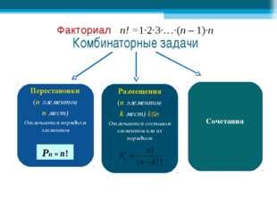 Комбинаторные задачи Перестановки (n элементов n мест) Отличаются порядком эл