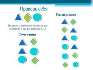 Размещения Сочетания Из данных элементов составьте все сочетания и все размещ