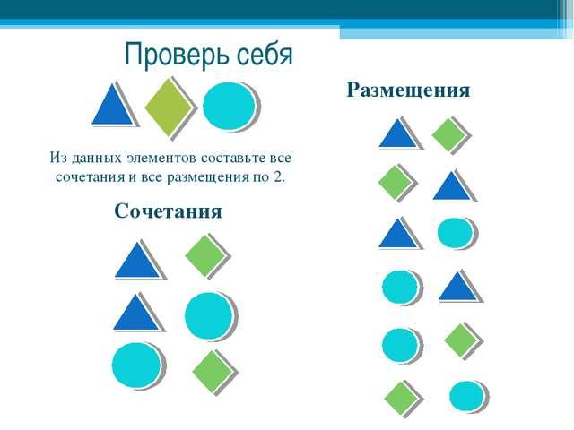 Размещения Сочетания Из данных элементов составьте все сочетания и все размещ...