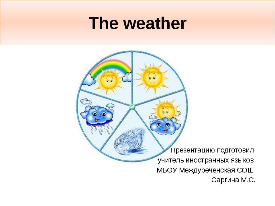 The weather Презентацию подготовил учитель иностранных языков МБОУ Междуречен...