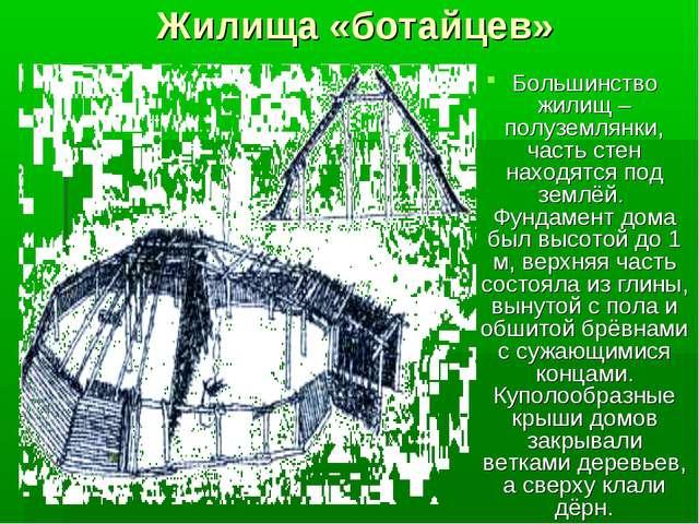 Жилища «ботайцев» Большинство жилищ – полуземлянки, часть стен находятся под...