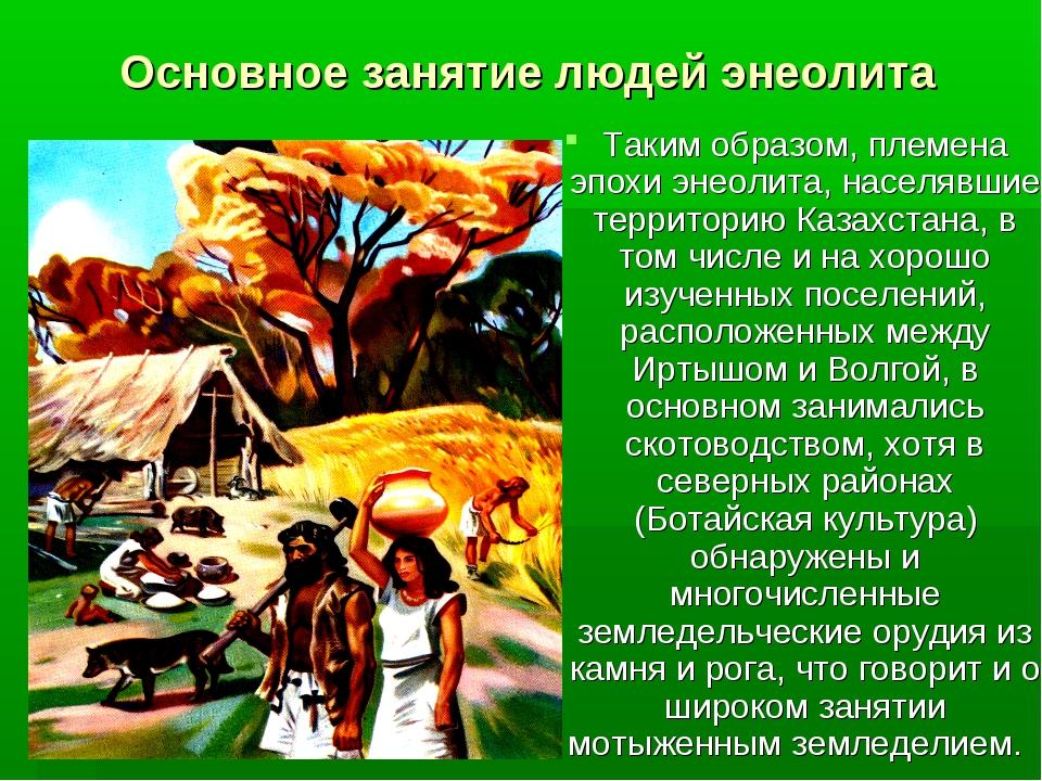 Основное занятие людей энеолита Таким образом, племена эпохи энеолита, населя...