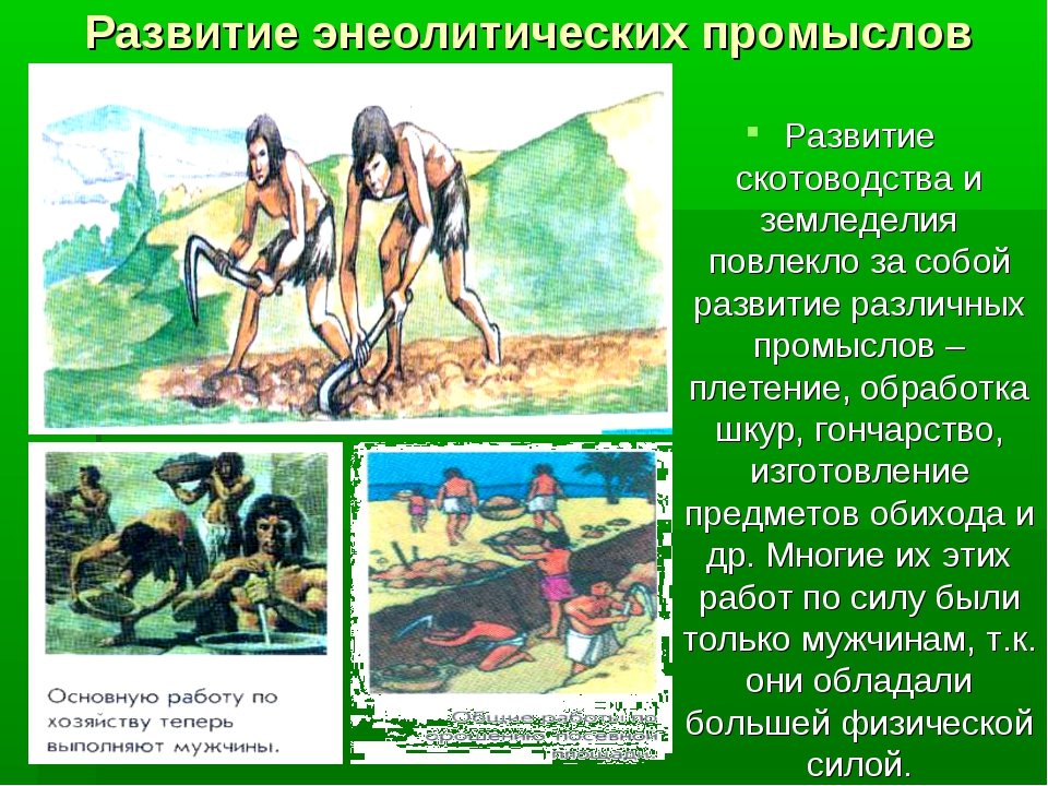 Развитие энеолитических промыслов Развитие скотоводства и земледелия повлекло...