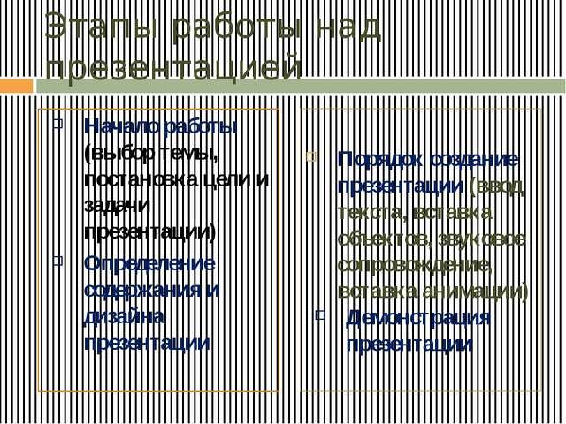 Этапы работы над презентацией Начало работы (выбор темы, постановка цели и за...