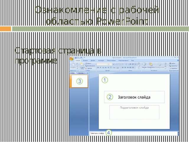 Ознакомление с рабочей областью PowerPoint Стартовая страница в программе Ша...