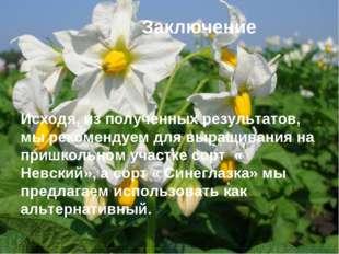 Заключение Исходя, из полученных результатов, мы рекомендуем для выращивания