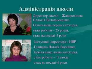 Адміністрація школи Заступник директора з НВР- Галицька Наталя Василівна Осві