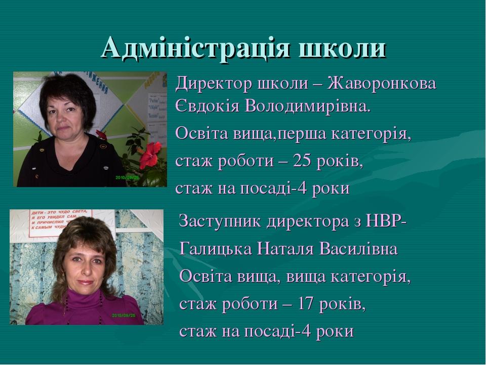 Адміністрація школи Заступник директора з НВР- Галицька Наталя Василівна Осві...