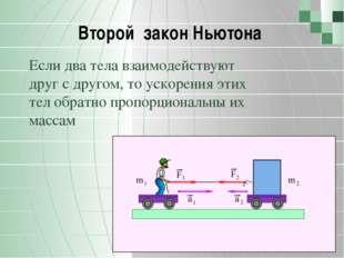 Второй закон Ньютона Если два тела взаимодействуют друг с другом, то ускорен
