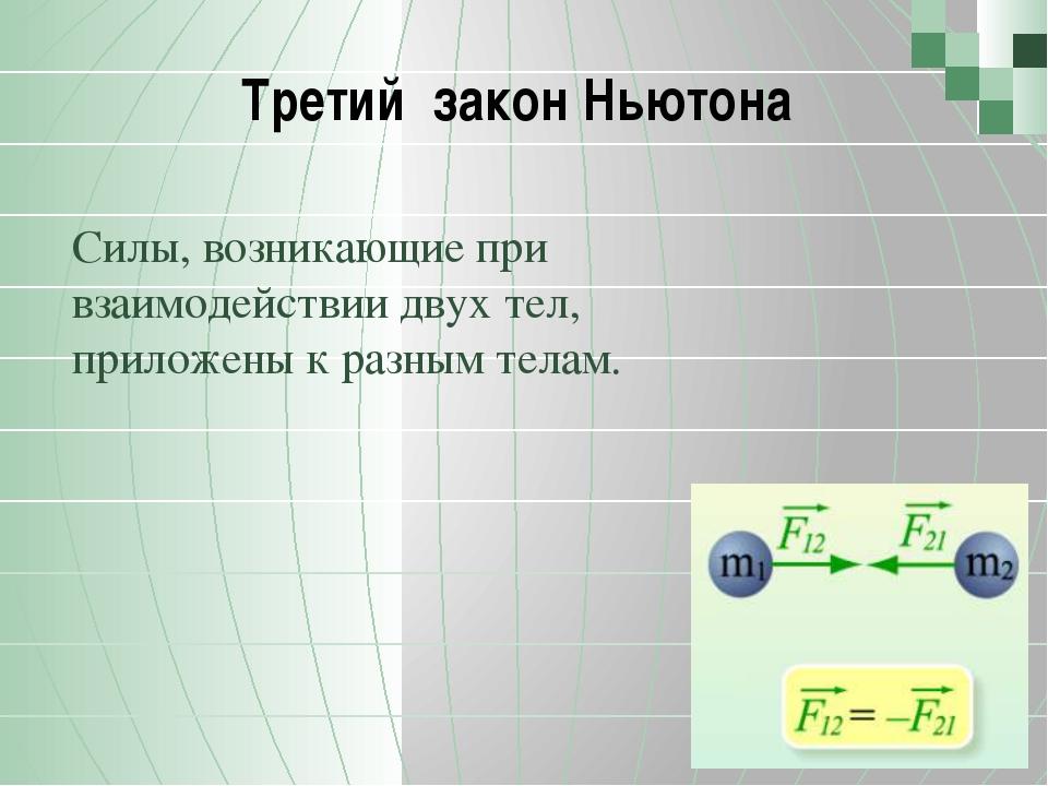 Третий закон Ньютона Силы, возникающие при взаимодействии двух тел, приложен...