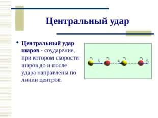 Центральный удар Центральный удар шаров - соударение, при котором скорости ша