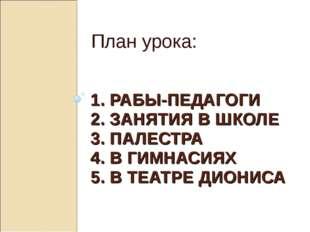 1. РАБЫ-ПЕДАГОГИ 2. ЗАНЯТИЯ В ШКОЛЕ 3. ПАЛЕСТРА 4. В ГИМНАСИЯХ 5. В ТЕАТРЕ ДИ