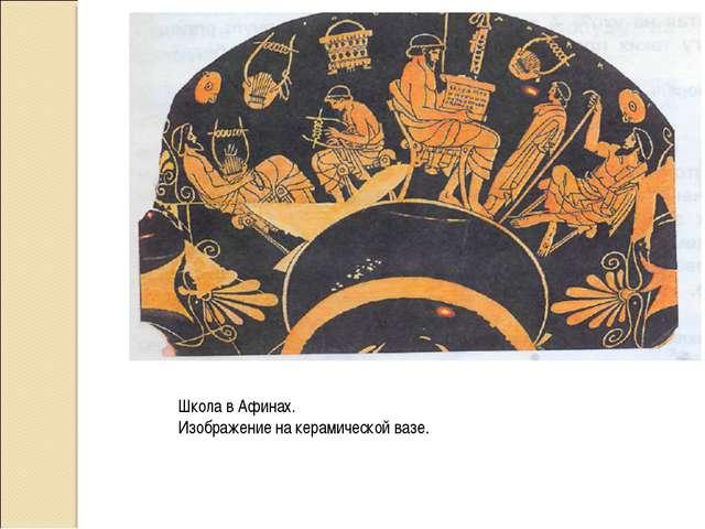 Школа в Афинах. Изображение на керамической вазе.