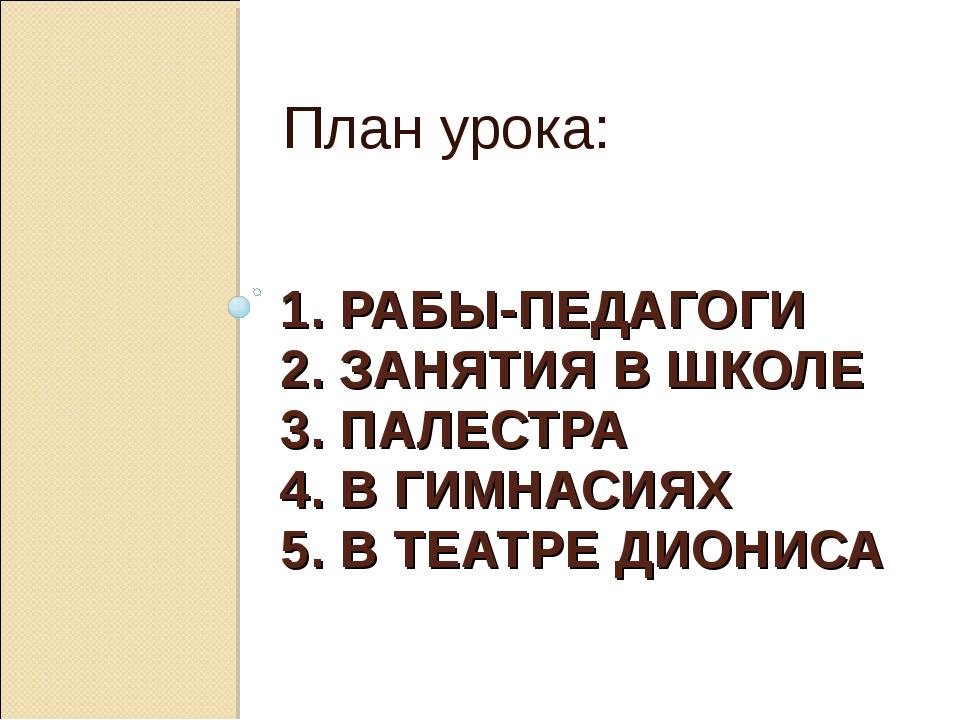 1. РАБЫ-ПЕДАГОГИ 2. ЗАНЯТИЯ В ШКОЛЕ 3. ПАЛЕСТРА 4. В ГИМНАСИЯХ 5. В ТЕАТРЕ ДИ...