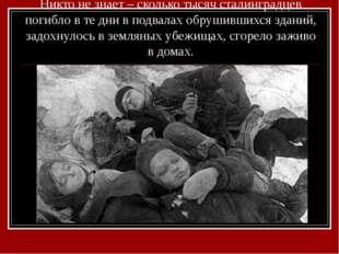 Никто не знает – сколько тысяч сталинградцев погибло в те дни в подвалах обру