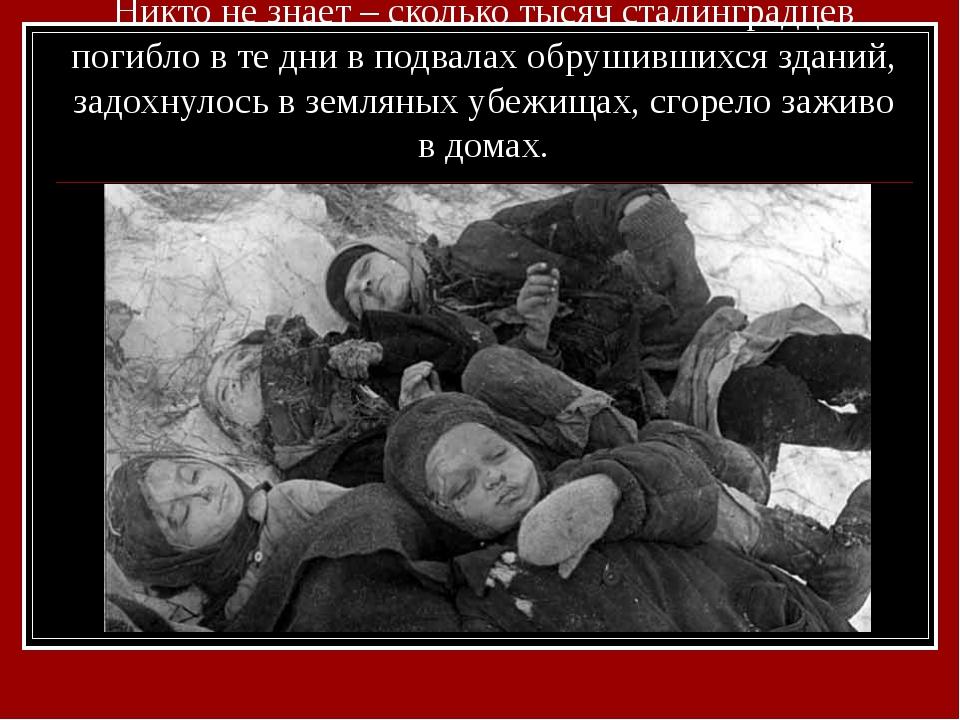 Никто не знает – сколько тысяч сталинградцев погибло в те дни в подвалах обру...