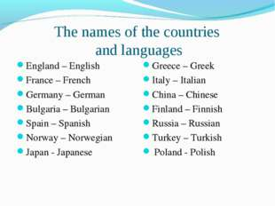 The names of the countries and languages England – English France – French Ge