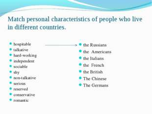 Match personal characteristics of people who live in different countries. hos