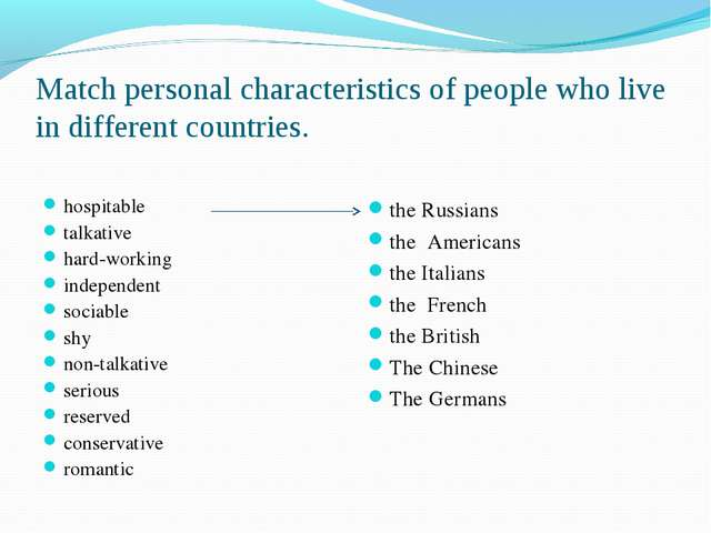 Match personal characteristics of people who live in different countries. hos...