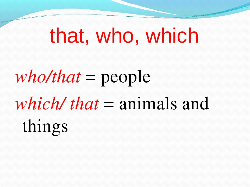 that, who, which who/that = people which/ that = animals and things