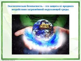 Экологическая безопасность – это защита от вредного воздействия загрязнённой