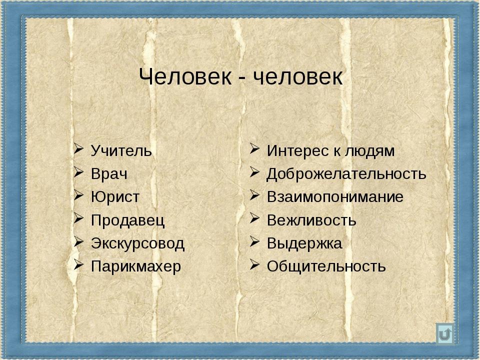 Человек - человек Учитель Врач Юрист Продавец Экскурсовод Парикмахер Интерес...