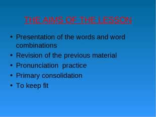 THE AIMS OF THE LESSON Presentation of the words and word combinations Revisi